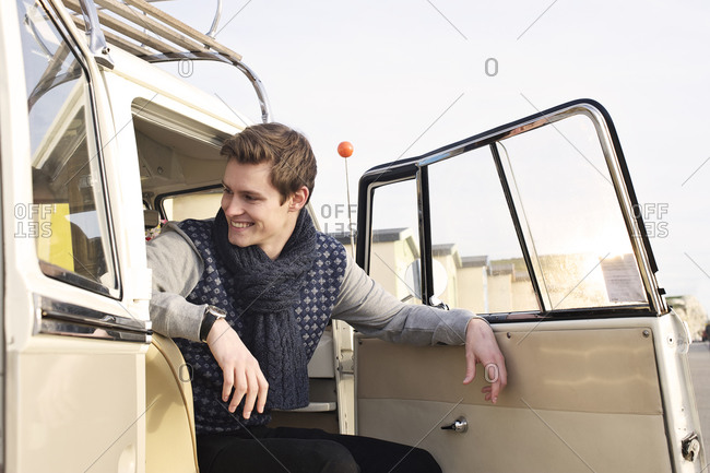 Low angle view of a boy in a van