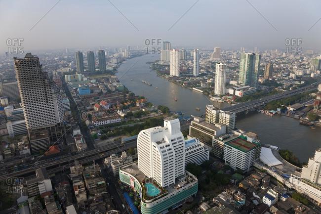 Cityscape of Bangkok and the Chao Phraya River in Thailand
