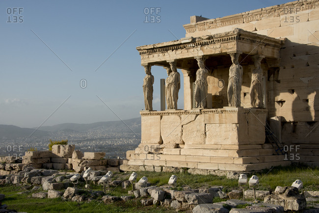 Erectheum, Porch of the Caryatids, carved maiden columns