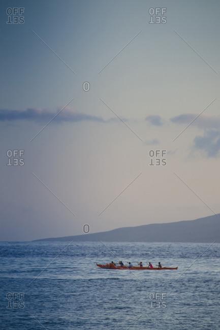 Outrigger Canoe at Dusk off Lahaina