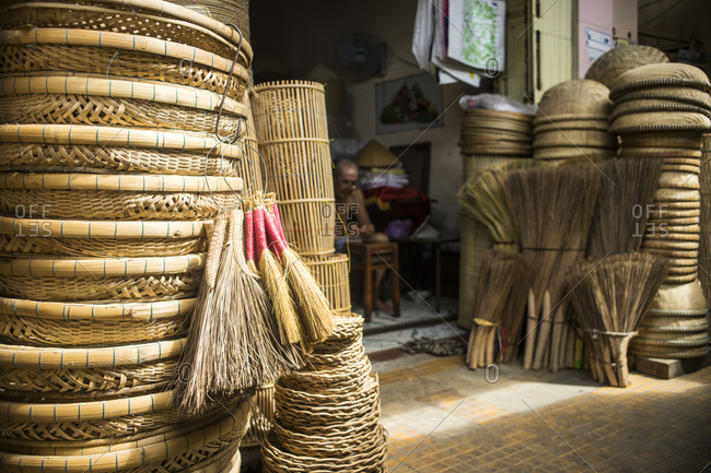 Straw baskets and brooms in Sa Dec, Vietnam