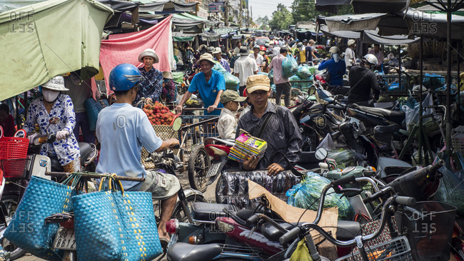 Sa Dec, Vietnam - June 27, 2013: Crowded marketplace in Sa Dec, Vietnam