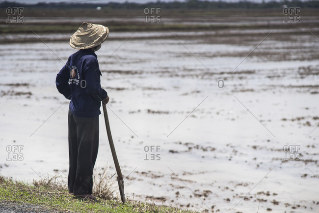 Man standing by a flooded field