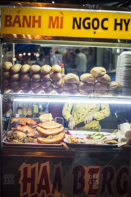 Street food stall in Soc Trang Province, Vietnam