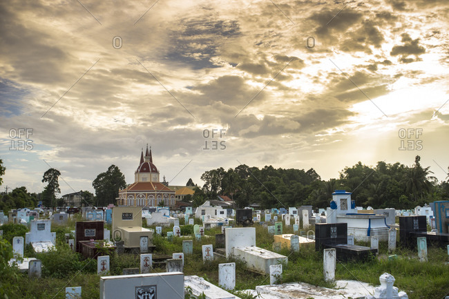 Cemetery in the Soc Trang Province of Vietnam