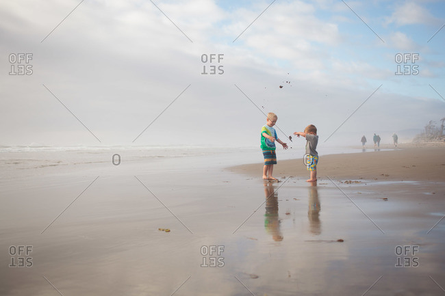 Brothers playing on beach