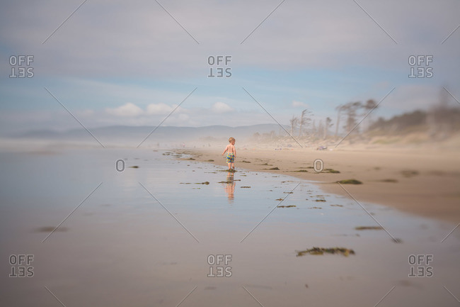 Boy standing on muddy beach