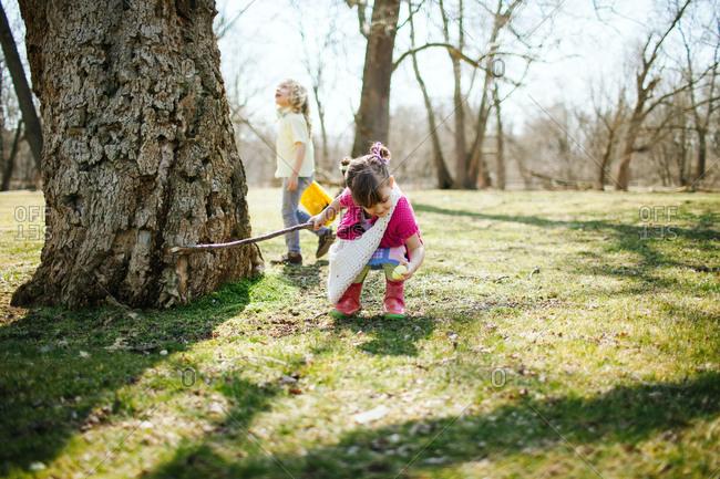 Children on an egg hunt in a park