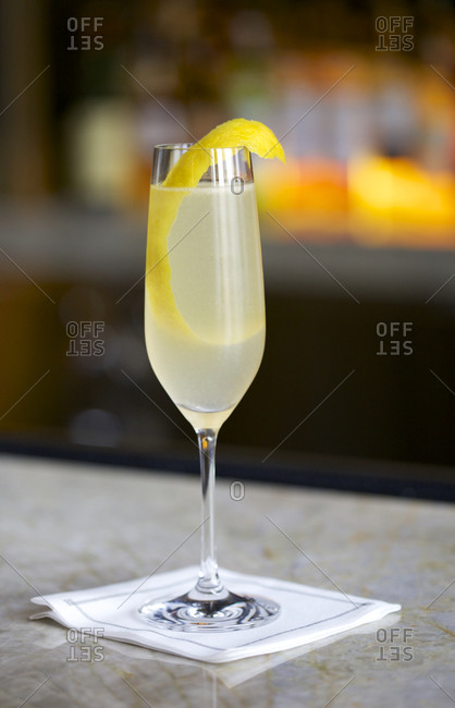 Sparkling wine cocktail at bar