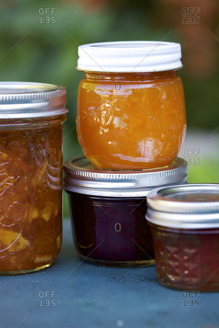 Jars of homemade jam and preserves