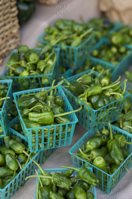 Baskets of Padron Peppers at farmers market