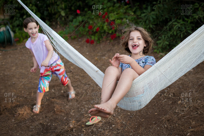 Girls playing with hammock