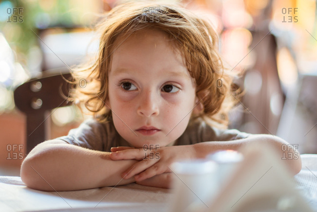 Portrait of a little boy sitting by a table