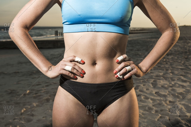 Midsection of a volleyball player