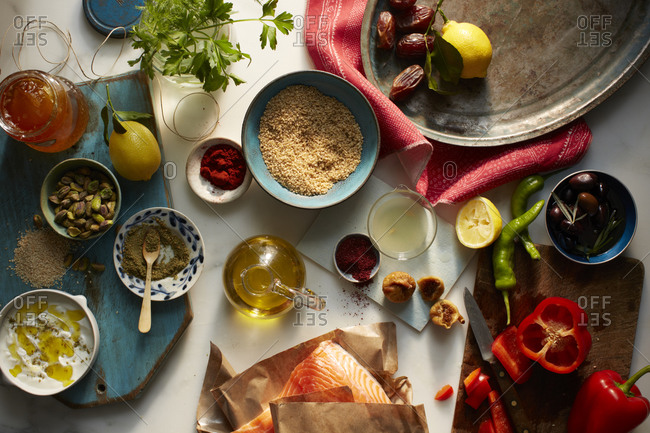 Mediterranean spices, vegetables and fruits on a table
