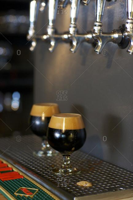 Dark beer on tap
