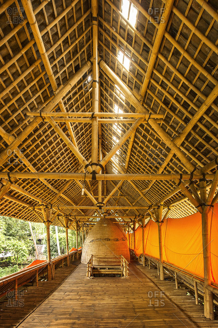 Ubud, Bali, Indonesia - February 3, 2014: Inside a bamboo building at a resort