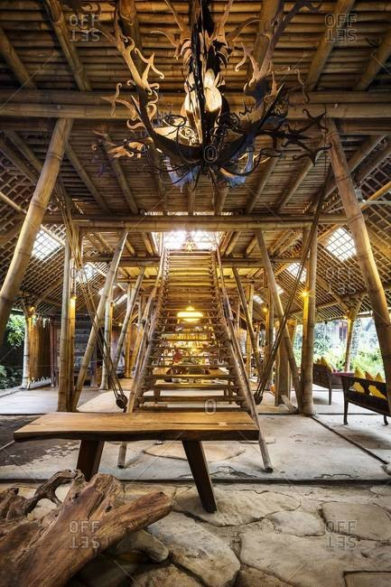 Ubud, Bali, Indonesia - February 5, 2014: Inside a beautiful handcrafted bamboo building