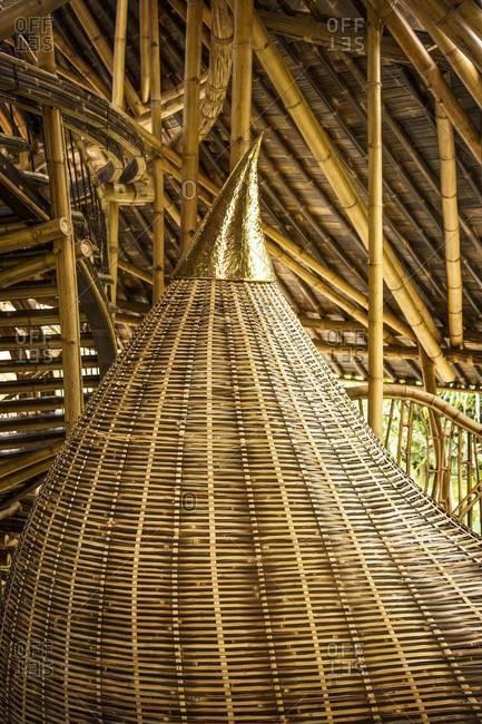 Ubud, Bali, Indonesia - February 5, 2014: Woven rattan organic shape inside a resort