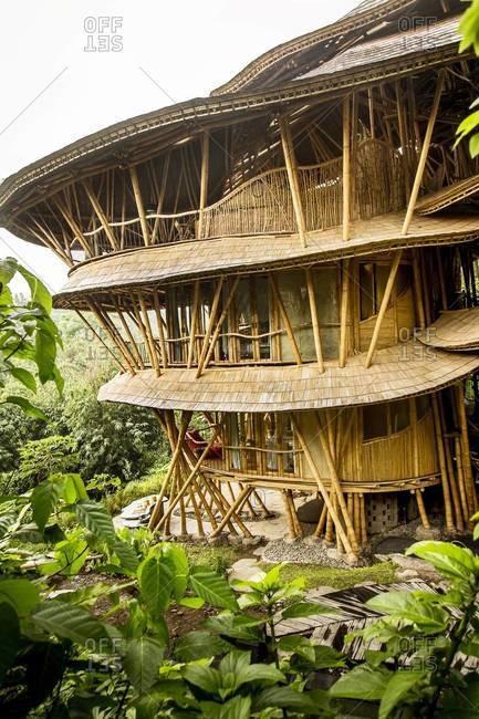 Ubud, Bali, Indonesia - February 6, 2014: Multi-storied bamboo building at resort