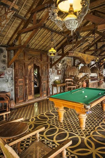 Ubud, Bali, Indonesia - February 8, 2014: Billiards table inside a luxury resort