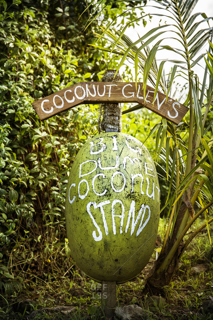 Coconut stand sign In Maui, Hawaii