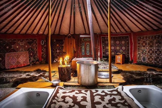 Mongolia - July 23, 2013: Two bathtubs inside a luxury yurt