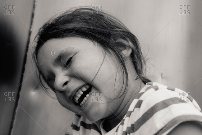 Close up of a giggling girl