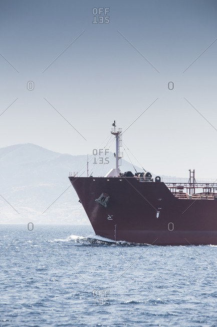 Ship's bow and cargo ship, Strait of Gibraltar, Spain