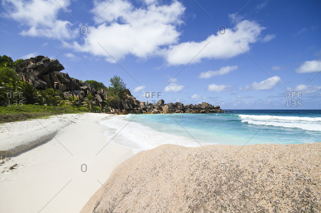 View of the Petit Anse beach at La DIgue Island
