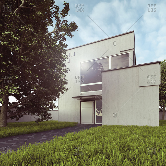 3D rendering of a modern detached house