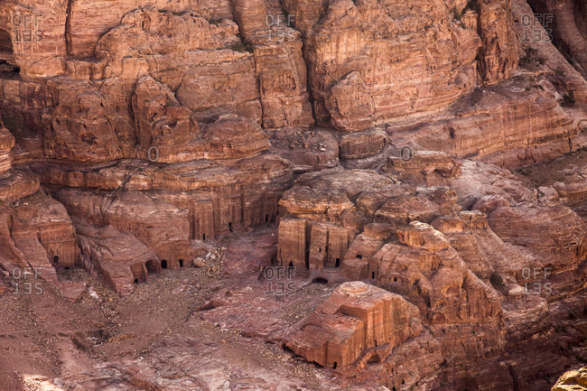 A view from above of part of the ancient city of Petra, Jordan