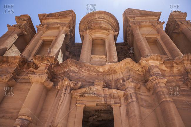 Detail of the facade of The Monastery, Petra, Jordan