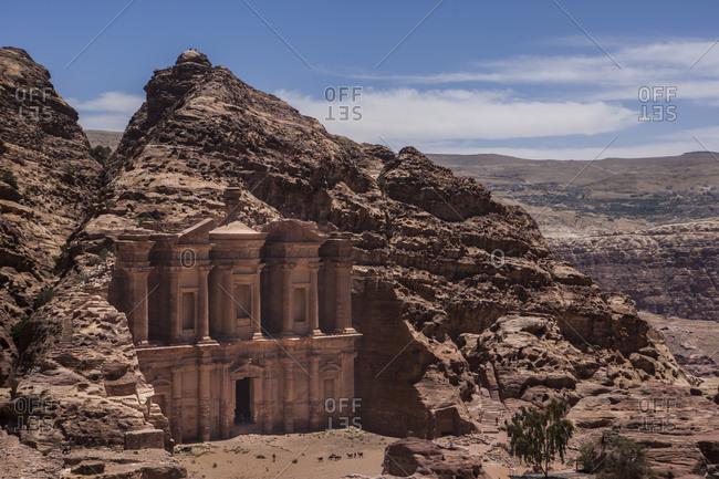 Elevated view of The Monastery, Petra, Jordan