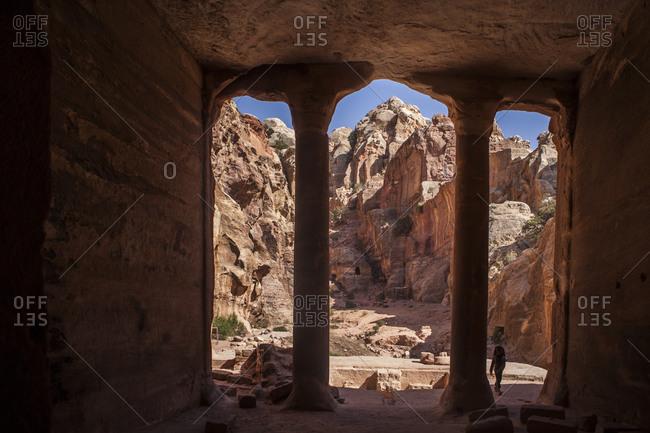 Looking out of the Gardner's Tomb, Petra, Jordan