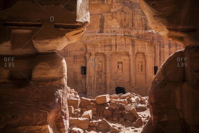 The facade of a tomb seen through the doorway, Petra, Jordan