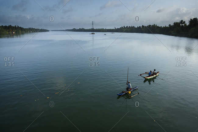 Fishermen on the Bolgoda River, Sri Lanka