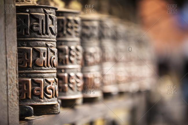 Prayer wheels at the temple complex at Swayambhunath, Kathmandu, Nepal