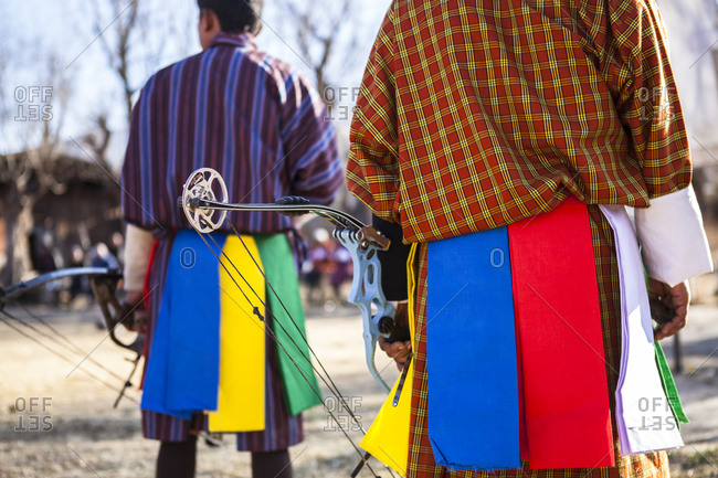 Men at an archery competition in Paro, Bhutan