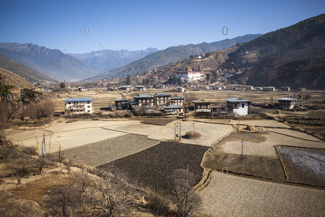 The town of Paro, Bhutan, with its Dzong, a local administrative and religious building