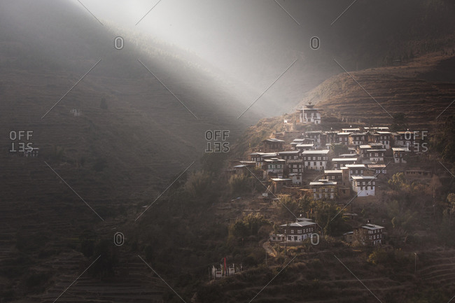 View of the village of Rinchengang in Bhutan