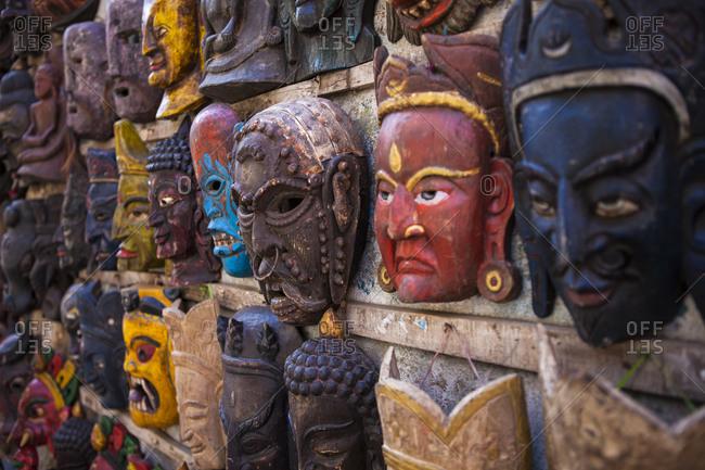 Masks on the street in Kathmandu, Nepal