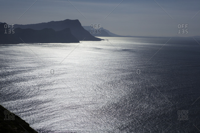 View of the southern coast of South Africa from the Cape of Good Hope