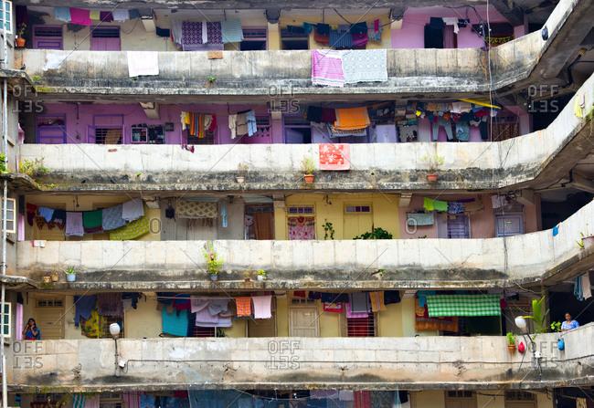 Mumbai, India - October 4, 2013: Apartment building in downtown Mumbai, India