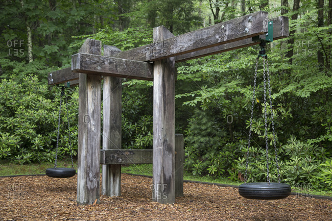 Tire swings in a park along the Virginia Creeper Trail
