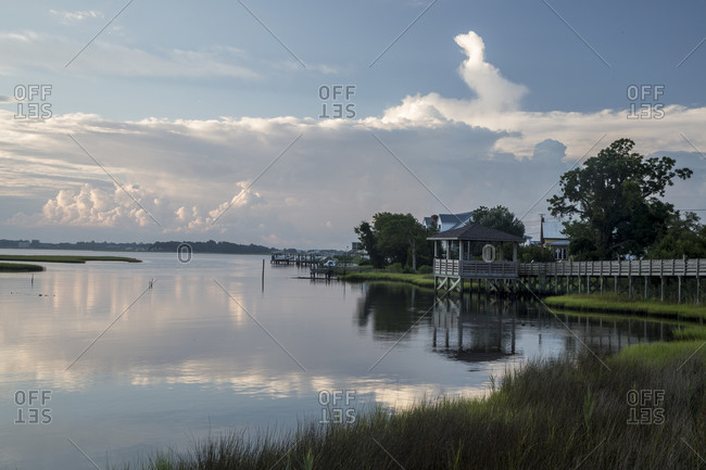 Clouds reflecting in the water in Emerald Isle, North Carolina