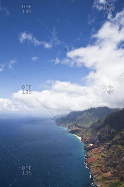 Aerial view of coastline of Kauai, USA