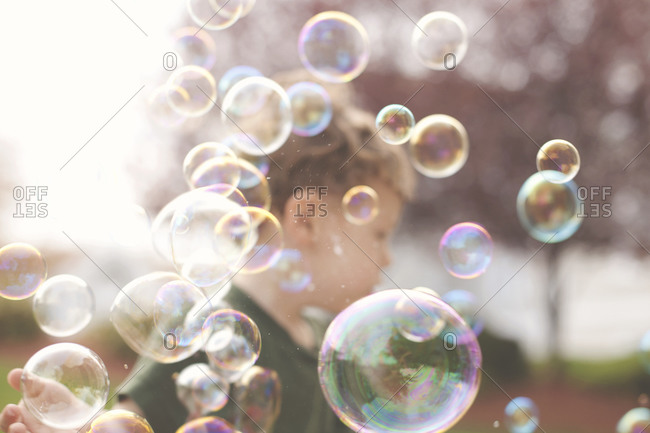 Young boy with soap bubbles