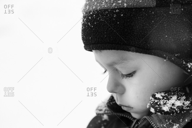 Portrait of a young boy in winter