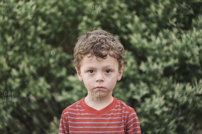 Portrait of a staring boy in the garden